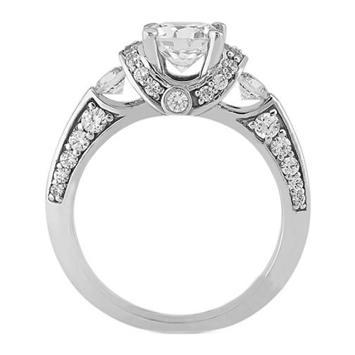 three diamond ring settings | center diamond not included select a center diamond here question