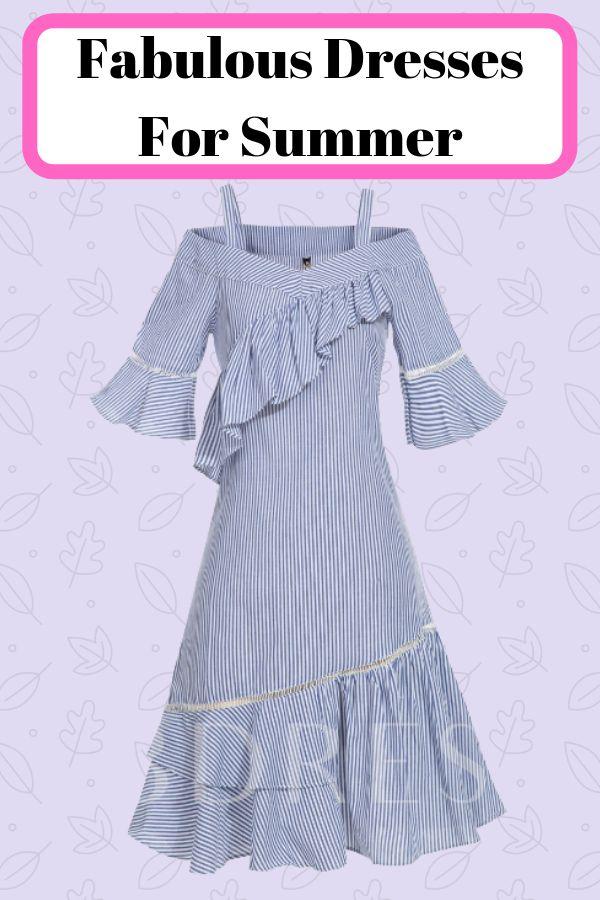 Spaghetti Strap Stripe Falbala Mermaid Women's Day Dress