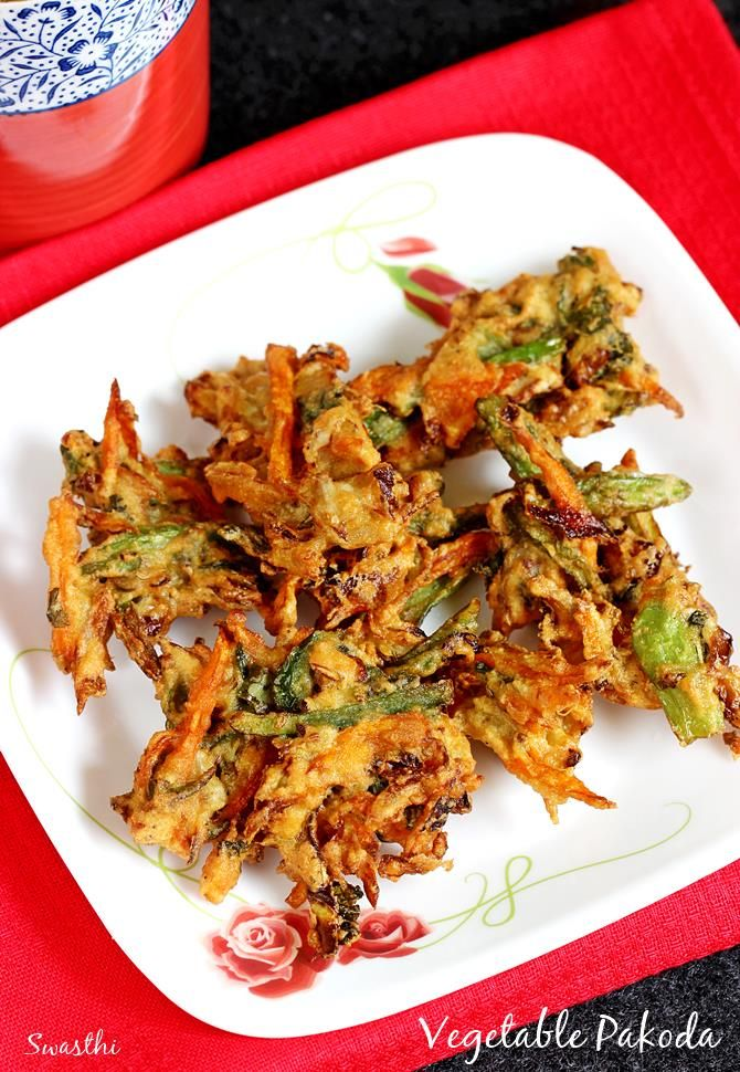 Vegetable pakora recipe using mix vegetables. One of the delicious varieties of Indian pakora made as a tea time snack or a party appetizer.