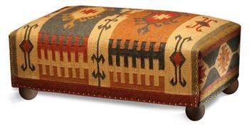 Southwestern Cabin Rustic Lodge Mtn. Ray Long Kilim Ottoman Bench #kilim #ottoman #kathykuohome