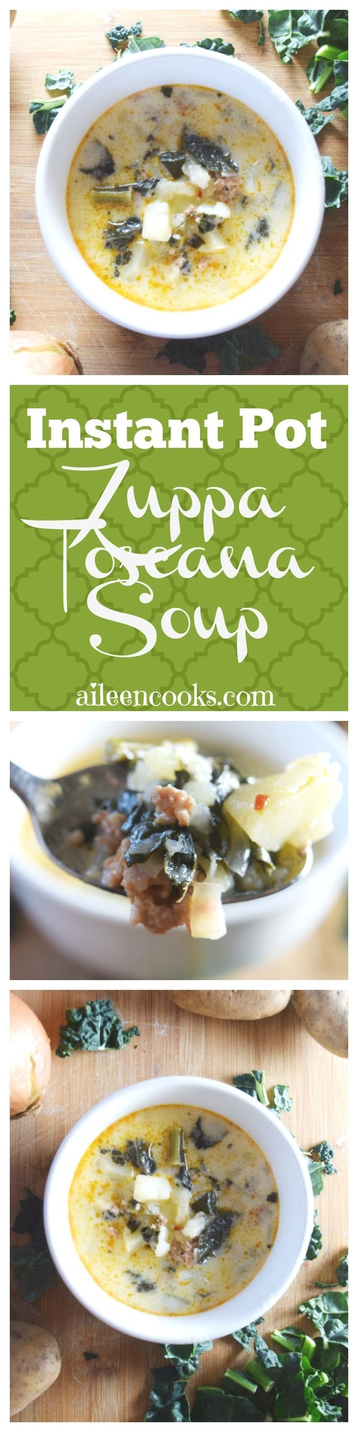 Make this delicious and hearty instant pot zuppa toscana soup at home! This recipe makes a large batch that tastes wonderful the next day. It's filled with hot Italian sausage, kale, hearty potatoes, garlic, and onion. This recipe includes slow cooker instructions, too! via @aileencooks