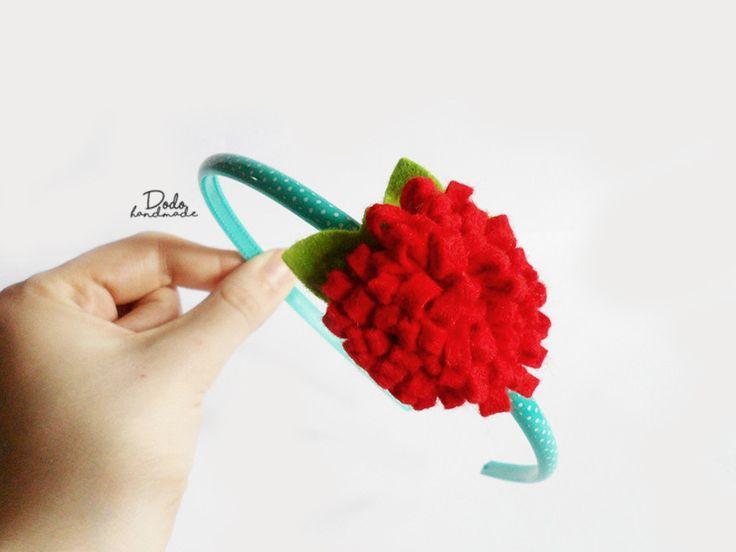Czerwona dalia - filcowa opaska do włosów - DodoHandmade - Opaski do włosów