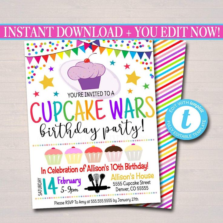 EDITABLE Cupcake Wars Themed Party Birthday Invitation, Girls Cupcake Candy Sweet Digital Invite, Cupcake Decorating Party, INSTANT DOWNLOAD