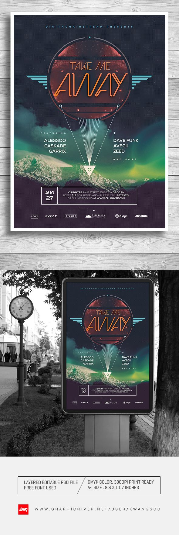 For Sale : http://graphicriver.net/item/take-me-away-electro-music-poster-flyer/8240803?ref=kwangsoo #trance #flyer #poster #techno #dubstep
