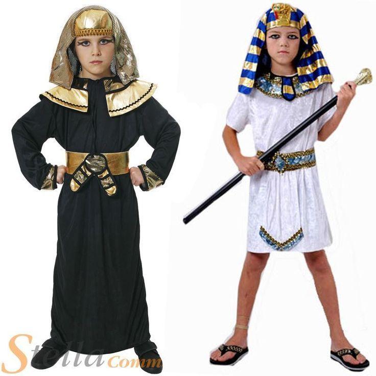 Kids Boys Pharoah Egyptian King Book Week Historic Fancy Dress Costume Outfit