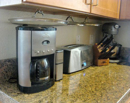 Store pot/pan lids under cabinets - This is smart.: Kitchens Spaces, Savory Recipes, Spaces Save, Great Ideas, Lids Storage, Under Cabinets, Pots Lids, Storage Ideas, Hanging Pots