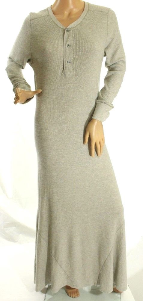 094650efa48 Polo Ralph Lauren Women s Gray Waffle Knit Henley Maxi Dress Size XL  145   PoloRalphLauren  MaxiDressPoloDress