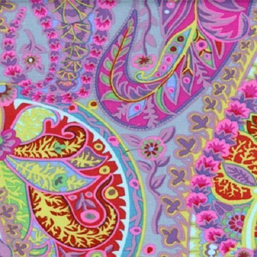 coupon de tissu patchwork kaffe fassett paisley jungle grey 45x55cm