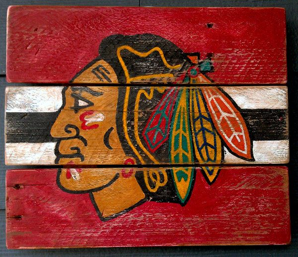 Chicago Blackhawks, Hockey,  Vintage looking sign, pallet wood, hand made, hand painted. $58.00, via Etsy.