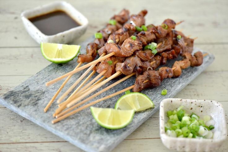 Pork Satay with Soy Sauce Marinade and Ginger Dipping Sauce