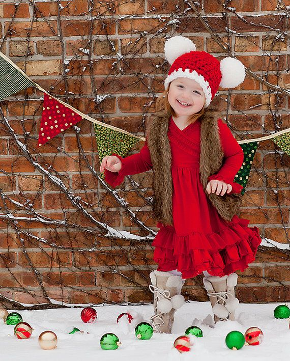 Christmas Toddler Santa Hat Toddler Girl by TSBPhotoProps