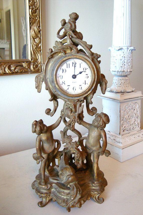 Antique Seth Thomas Mantle Clock Spelter Cherubs Dolphin 8