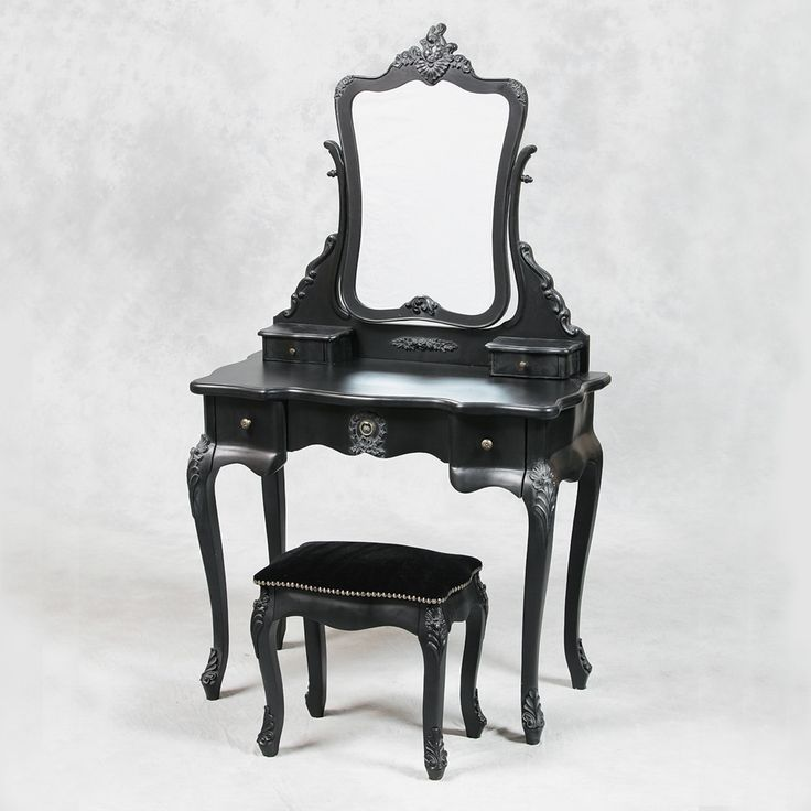 French Style Antique Black Dressing Table, Mirror And Stool Set Occasional  Furniture Dressing Tables Bedroom   Breeze