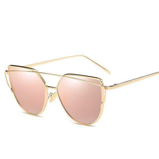 2449b9af28dd 2018 ojo de gato Vintage marca oro rosa espejo gafas de sol para las  mujeres Metal reflectante lente plana gafas de sol femeninas UV400