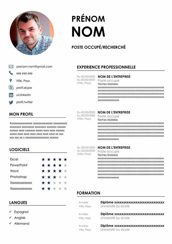 Découvre cet exemple de CV avec photo prêt à remplir avec ...