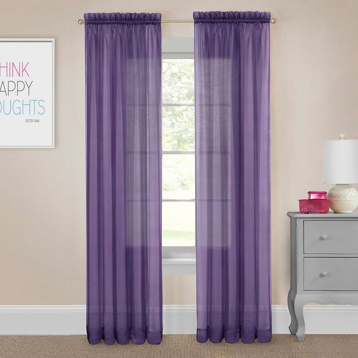 Pairs To Go 2-pack Victoria Voile Curtain, Purple