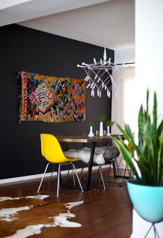 love the moroccan rug: Dining Rooms, Wall Colors, Black Walls, Lights Fixtures, Dark Walls, Rugs, Yellow Chairs, Accent Wall, Charcoal Wall