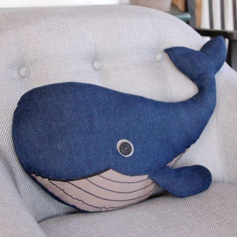 This cute and elegant blue whale cushion.