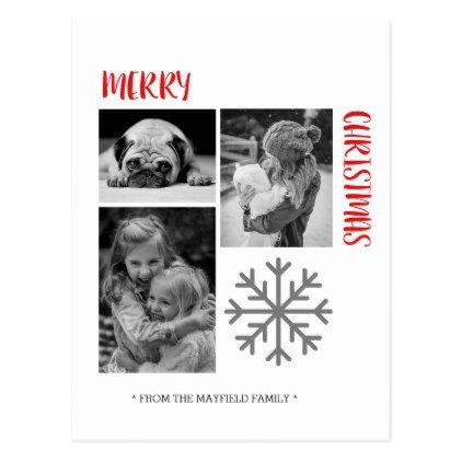 Merry Christmas photo template card - christmas cards merry xmas family party holidays cyo diy greeting card
