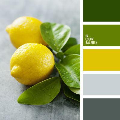 2016, amarillo limón, amarillo vivo, color de limones, color verde hierba, color verde limón, combinación de colores, de color plata, elección del color, selección de colores, tonos grises, tonos verdes, verde y amarillo.