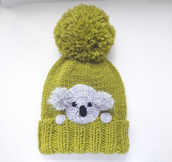 Koala Hat, Knit Hat, Winter Hat, Pom Pom Hat, Kids Outfit, Girls Accessories, Women Hat, Knit Beanie, Winter Fashion, Cute Hat, Animal Hat – Häkeln