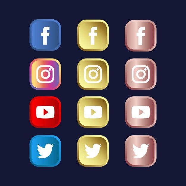 Conjunto De Icones De Midia Social Em Gradientes De Ouro E Ouro Rosa Social Media Icons Social Media Logos Iphone Photo App