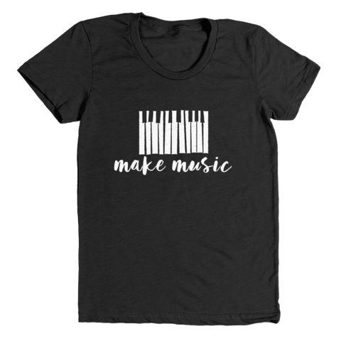 make music | women's heather black t-shirt - little cutees