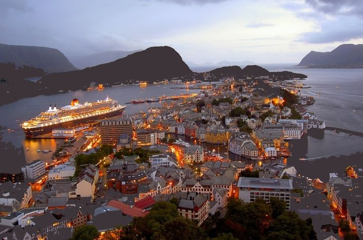 The city of Aalesund in Norway is internationally known for its distinctive Art Nouveau architecture with towers, spiers and imaginative ornamentation on facades, its surrounding fjords and the high peaks of the Sunnmøre Alps. The architecture in the city is the result of the disastrous fire of 1904.  The coastal city is one of the worlds largest export ports for klippfish and a busy fishing port right in the center sales of fresh fish and prawns. http://www.visitalesund-geiranger.com/en/