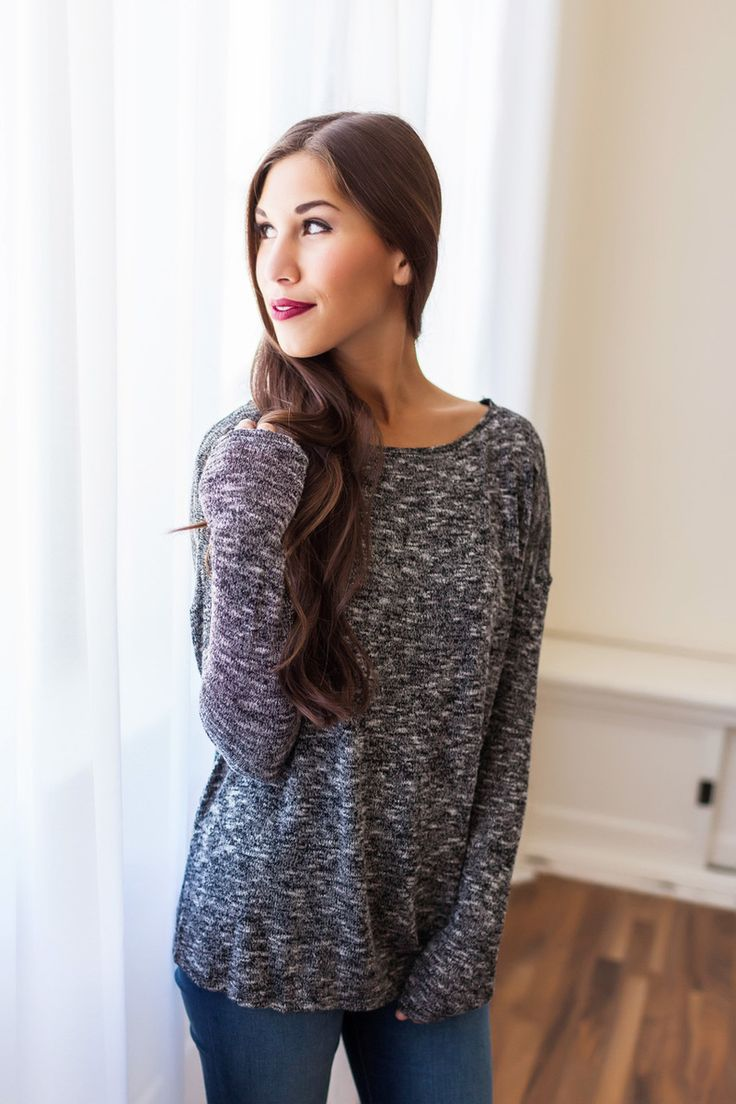 Black Heathered Knit Long Sleeve Top - Dottie Couture Boutique