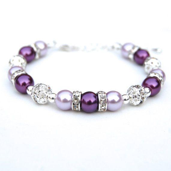 Lavendel en paarse parel strass bruidsmeisje armband, paarse sieraden, bruiloft cadeau, zomer bruiloft