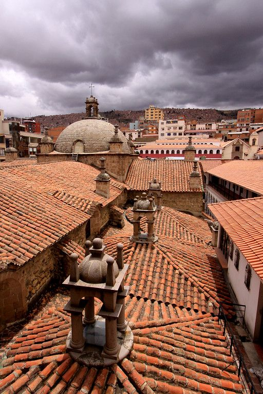 Dark clouds gather over the roof top of the Iglesia de San Francisco , La Paz, #Bolivia  #travelphotography #storm