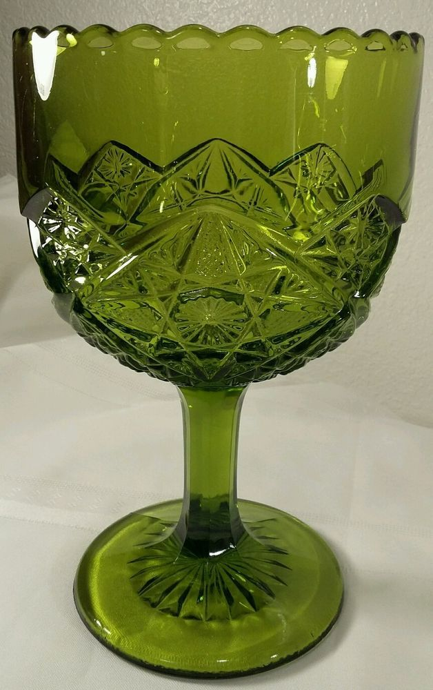 EAPG Green Button Star, Diamond Quilted, Sawtooth Edge Pedestal Compote Bowl