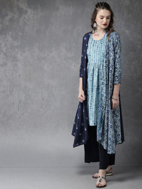 0b7cce00bcd57 Buy Anouk Women Blue & White Dyed Kurta With Palazzos - Kurta Sets for  Women 4880899 | Myntra