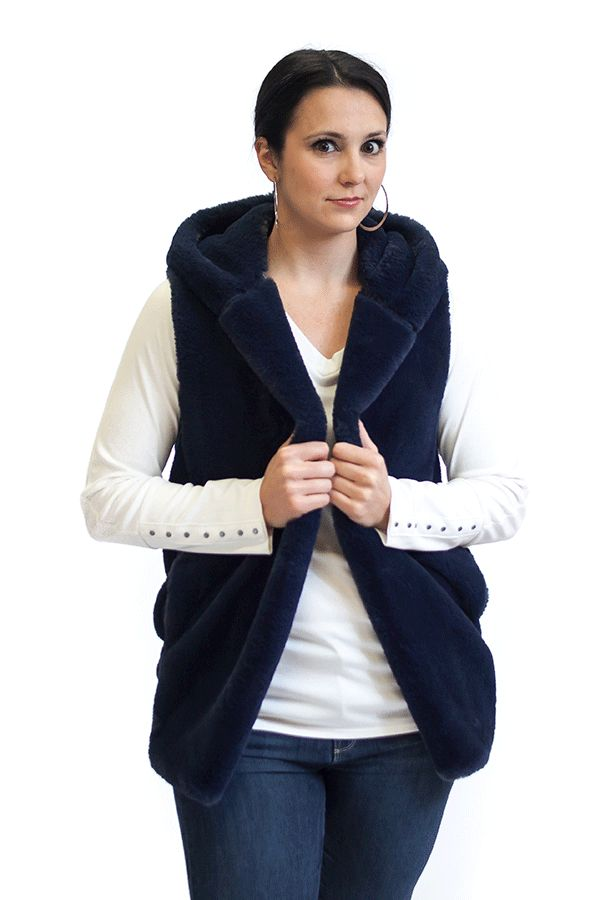 Faux Fur Hooded Vest by Capote
