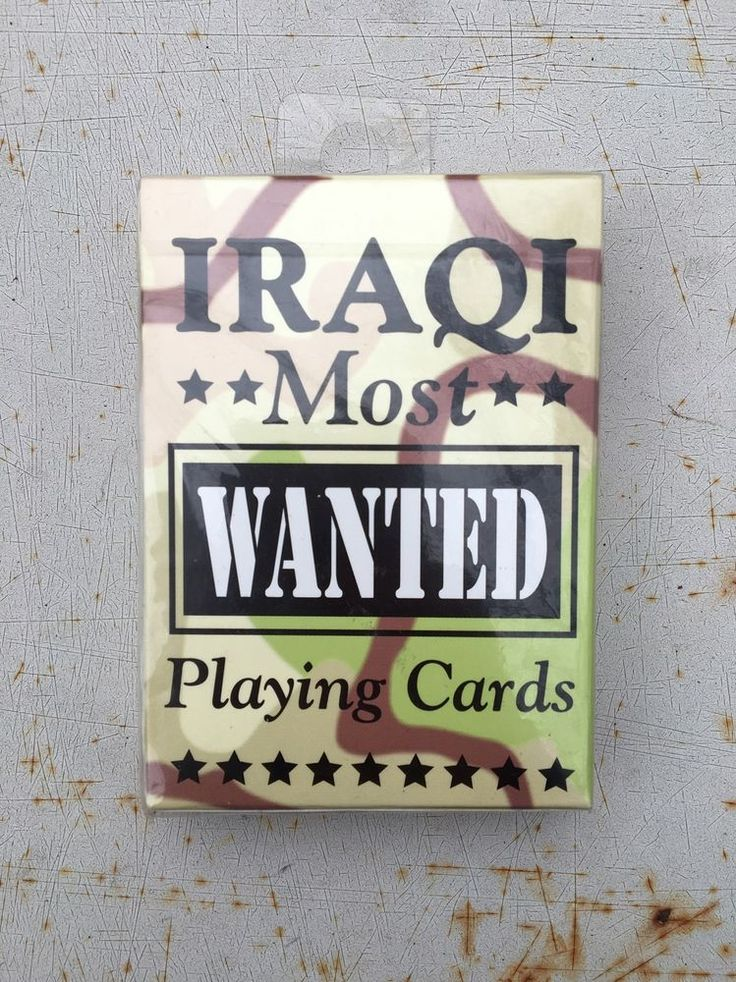 This is a listing for the Iraqi Most Wanted Card Deck. Factory sealed Nice shape Collectors item By the makers of Bicycle decks Made in USA As always&#x3b; view all photos carefully and ask all questions before hitting the buy it now! If you enjoy this item come check out my other listings! | eBay!