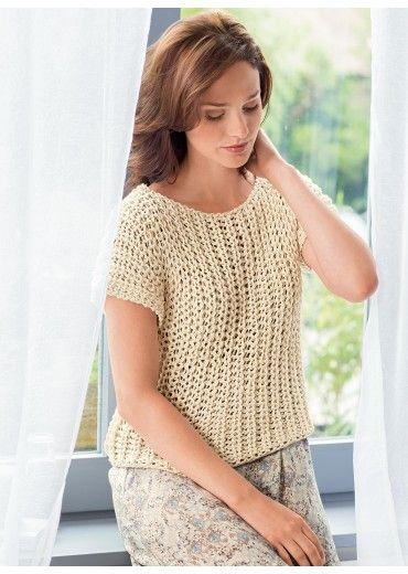 Met dit breipatroon ga je een trui met korte mouwen breien. Je hebt 7 tot 12 bollen katoen nodig om dit makkelijke patroon in een paar uurtjes te breien.