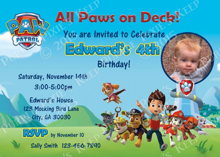 Paw Patrol Birthday Party Invitation - 2 Options!! by PurplePixiesKeep on Etsy