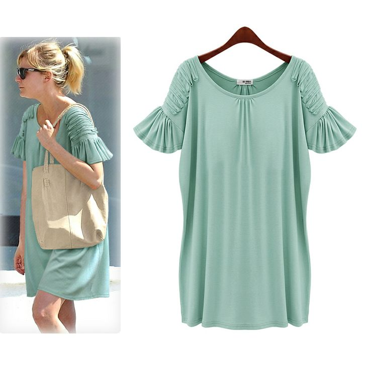 HOT! 2013 New Summer Fashion Dresses Plus Size XXXL 3 Colors Fold Sleeve Was Thin Clothing One-piece Dress O-neck  Free Shipping US $15.99