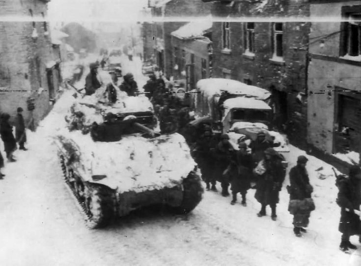 3rd Armored Division M4A3E2 Sherman Jumbo Tank and 83rd Infantry in Lierneux Belgium 1945