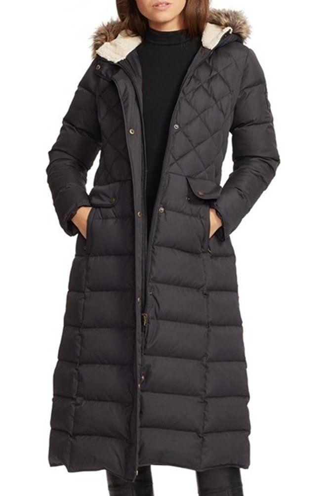 【ローレンラルフローレン】 Lauren Ralph Lauren Faux Fur Trim Hooded Long Down & Feather Fill Coat ロングダウンコートフード付き 【並行輸入品】 BONBOTTE (Large)