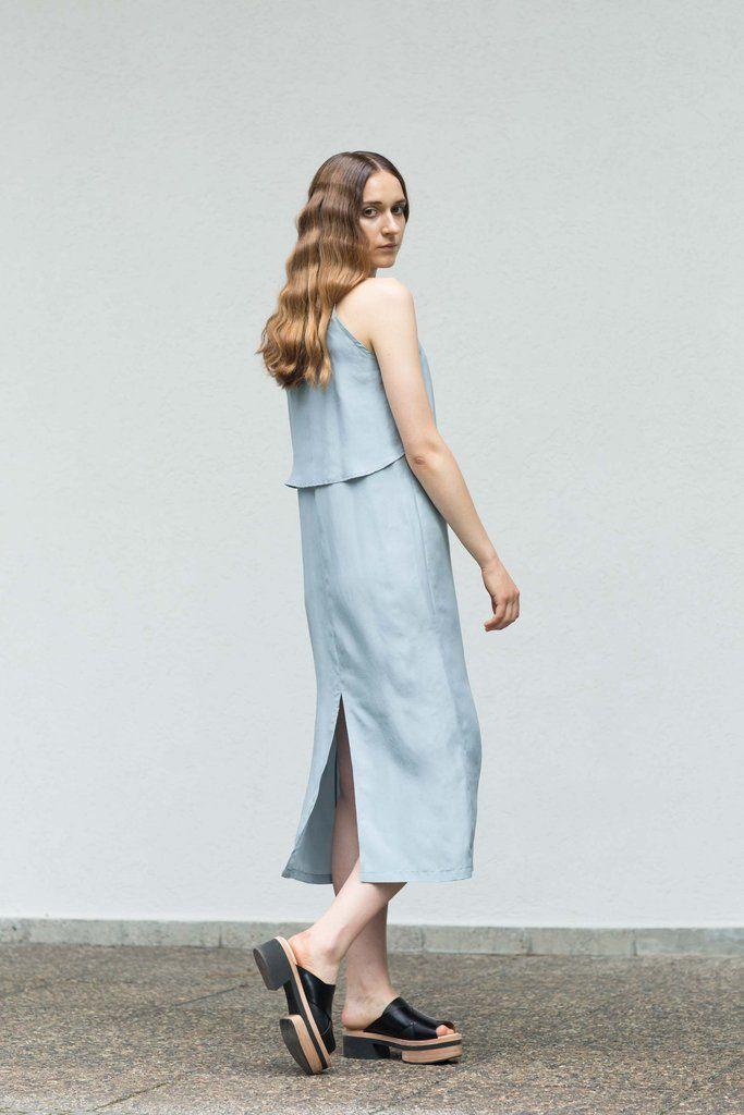 VON HUND Fashion & Design - Womenswear Lookbook S/S16, Blue Silk Habotai Adriana Dress. Radical Price Transparency.  www.vonhund.com