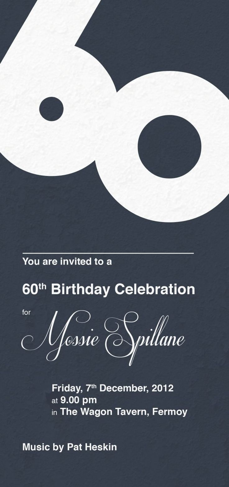 invitation anniversaire 60 ans à police d'écriture années 50