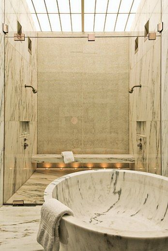 Great Ceilings : Architectural Digest Note sky light over shower