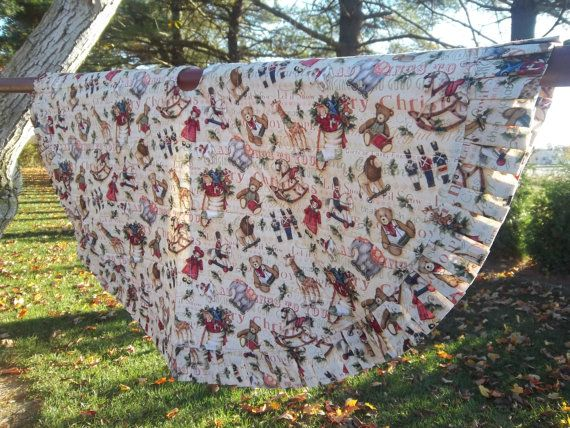 Handmade Quilted Christmas Tree Skirt With Vintage Toy By Krissyde