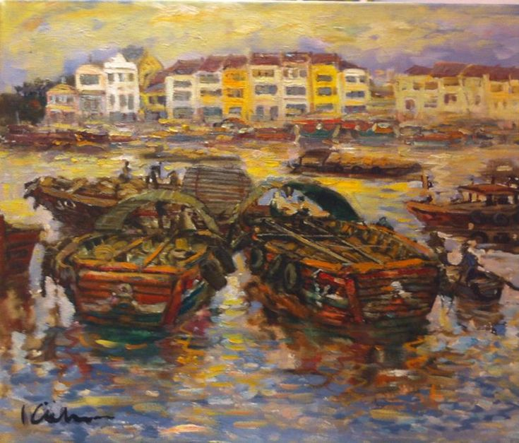 Koeh Sia Yong: Singapore River, Oil on Canvas, 58 x 3 x 47.5cm. Represented by Ode To Art.