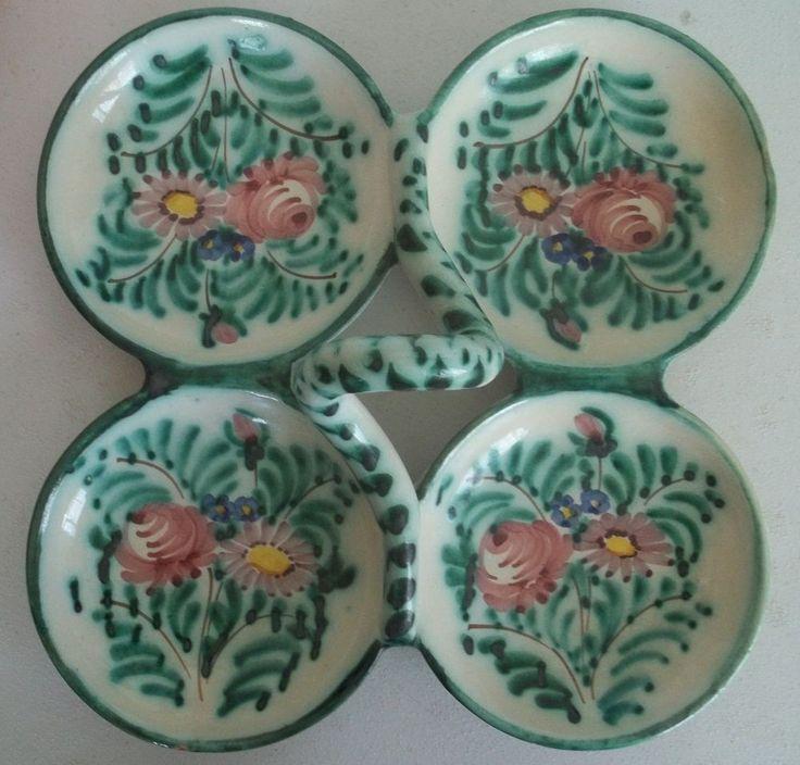 Vtg Italian Hand Painted Terra Cotta Glazed Pottery Divided Serving Dish Platter   eBay