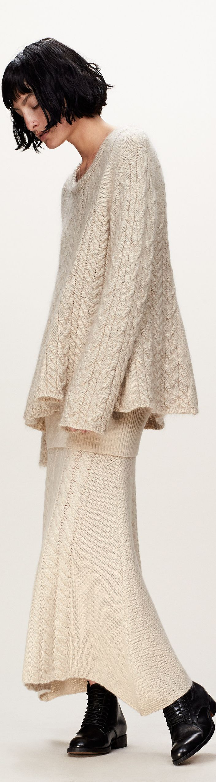 white knit sweater, skirt women fashion outfit clothing style apparel @roressclothes closet ideas