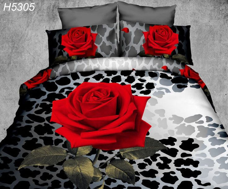 Digitale HD 3D beddengoed set rode roos beddengoed 3d enkele rose dekbedovertrek laken kussenslopen 3d olieverf bed cover H5305 in digitale HD 3D beddengoed set rode roos beddengoed 3d enkele rose dekbedovertrek laken kussenslopen 3d olieverf bed cove van beddengoed sets op AliExpress.com | Alibaba Groep
