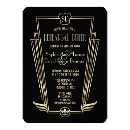 Royal Gold Black Art Deco Rehearsal Dinner Card - monogram gifts unique design style monogrammed diy cyo customize
