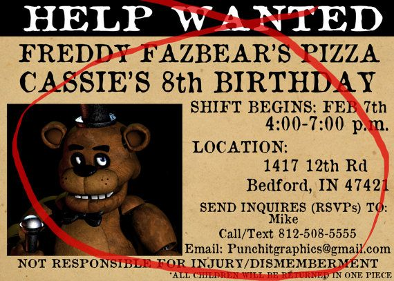 Five Nights at Freddy's Help Wanted Custom by PartyAnimalinvites